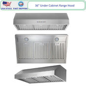 36 Under Cabinet Range Hood Slim Kitchen Stove Vent Stainless Steel 500cfm Leds