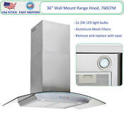 36 Wall Mount Range Hood Stainless Steel Glass Kitchen Cooking Vent Fan 760cfm