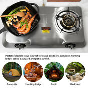 2 Burner Cook Top Stainless Steel Portable Propane Lpg Gas Stove Double