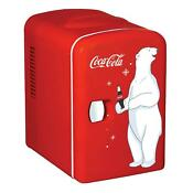 Coca Cola Mini Fridge Cooler Personal Portable Compact Refrigerator Red