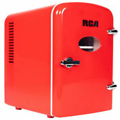Rca Mini Retro Fridge 6 Can Beverage Compact Refrigerator And Warmer Red