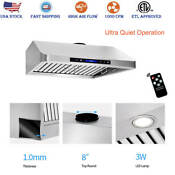 30 Under Cabinet Range Hood 1000 Cfm Kitchen Stove Vent Exhaust Touch Control