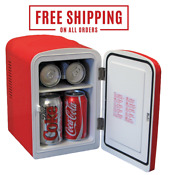 Coca Cola Mini Fridge Desktop Electric 6 Can Retro Vintage Cooler Collectible