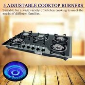 5 Burners Built In Stove Top Gas Cooktop Easy To Clean Ng Lpg Gas Convertible