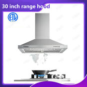 New 30 Inch Kitchen Range Hood 350cfm Stainless Steel Wall Mounted Hood 3 Speed