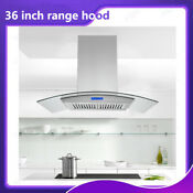 36 Inch Silver Stainless Steel Glass Led Kitchen Island Range Hood 900cfm Vent