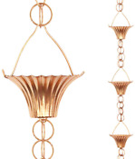 Tfro Cile Cup Rain Chain Copper Gutter Downspout Substitution Decorative Garde