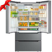 Counter 22 5 Cu Ft Depth Fridge French Door Refrigerator Freezer Stainless Steel