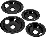 Ge Hotpoint Porcelain Stove Drip Pans Electric Burner Covers Top Replacement Set