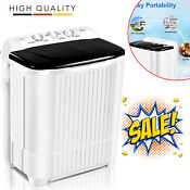 26lbs Compact Portable Washing Machine Twin Tub With Drain Pump Spiner Dryer