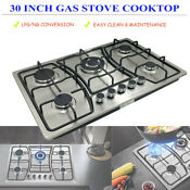 Gas Cooktop 30 Kitchen Stove 5 Burner Cook Top Ng Lpg Stainless Steel W Plug