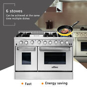 Thor Kitchen 48 Gas Range Double Oven 6 Burner Cooktop Stainless Steel Hrg4808u
