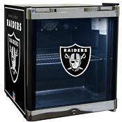 Oakland Raiders Nfl Glass Door Refrigerator Beverage Cooler Center 1 8 Cu Ft New