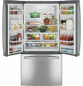 Ge Gne25jskss 33 French Door Refrigerator 24 8 Cu Ft Capacity Stainless Steel