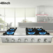 Thor Kitchen 48 Inch Rangetop Stainless Steel 6 Burners Range Top Hrt4806u