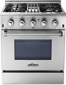 Thor Kitchen 30 Inch Freestanding Dual Fuel Range With 4 Burners Hrd3088u