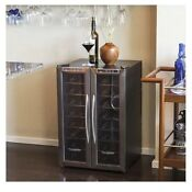 Wine Refrigerator Dual Zone Cooler Stainless Steel Red White Wines Rack Chiller