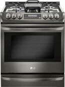 Lg 6 3 Cu Ft Self Cleaning Slide In Gas Convection Range Black Stainless Steel