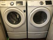 Samsung Electric Front Load White Washer Dryer Pedestals