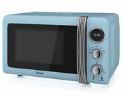 Swan Sm22030bln Retro 800 Watt Microwave Free Standing Blue New From Ao