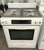 30 Kitchenaid White Gas Stove 4 Burner Convection Oven 000584