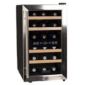 Koldfront Twr187ess 18 Bottle Free Standing Dual Zone Wine Cooler Black And S