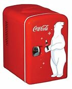Vintage Classic Coca Cola Coke Small Mini Fridge Compact Refrigerator Cooler Pop