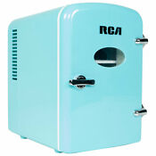 Rca Mini Retro Fridge 6 Can Beverage Compact Refrigerator And Warmer Blue