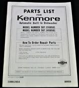 Sears Kenmore Automatic Dish Washer Parts List Brochure Catalog 1989 Vintage