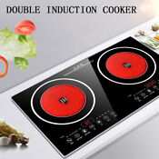 Electric Dual Induction Cooker Cooktop 2200w Countertop Double Burner Black Usa