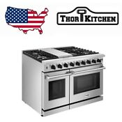 Thor Kitchen 48inch Gas Range 2 Oven 6 Cooktop Burners Griddle Stainless Steel