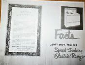 Vtg 1950 S Ge Stratoliner Stove Facts About Your New Ge Stove Speed Cooking Elec