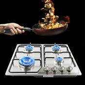 Stainless Steel Ignition Gas Propane Built In 4 Burner Stove Camping Cooktop New