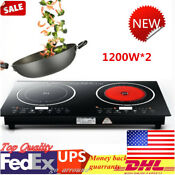 1200w 2 Double Hot Plate Cooking Burner Electric Dual Induction Cooker Cooktop