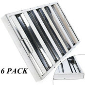 6 Pack 25 W X 16 H X 2 T Stainless Steel Exhaust Hood Grease Filters Us