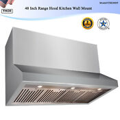 48 Inch Range Hood Kitchen Wall Mount Stainless Steel Button Led Top Ventilation