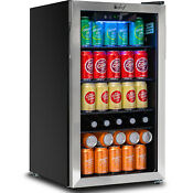 Deco Chef 118 Can Beverage Refrigerator And Cooler Glass Door Digital Gauge