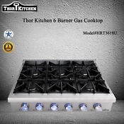 Thor Kitchen 6 Burners Range Gas Cooktop Stove 36 Inch Rangetop Stainless Steel