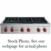 Wolf 36 Pro Style Gas Rangetop With 6 Dual Stacked Sealed Burner Model Srt366
