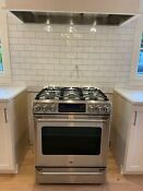 Ge Cafe 30 Stainless Slide In Front Control Gas Range Convection Oven 6 Burner