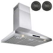 36 Stainless Steel Wall Mount Range Hood Ductless Kitchen Fan W Carbon Filters