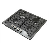 23inch Black Titanium Stainless Steel 4 Burners Built In Gas Cooktop Kitchen