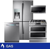 Samsung 4 Piece Gas 28 Cuft 4 Door French Door Kitchen Set In Stainless Steel