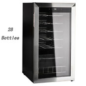 Smad 28 Bottle Wine Cooler Fridge Beverage Refrigerator Stainless Steel Frame