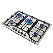 30inch Stainless Steel 5 Burners Built In Stove Cooktop Natural Gas Hob Ship Us