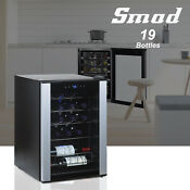 Smad 19 Bottle Wine Cooler Refrigerator Glass Door Fridge Under Counter Pub Home