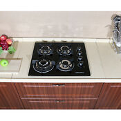 24 Built In 4 Burner Gas Cooktop Stove Cook Top With Tempered Glass