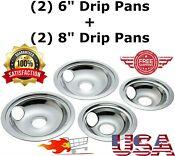 4 Ge Hotpoint Chrome Stove Drip Pans Electric Burner Covers Top Set
