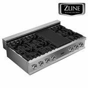 Zline 48 Rangetop With 6 Gas Burners Stainless Steel Kitchen Rt48