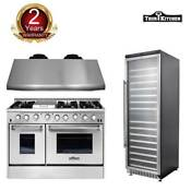 Thor Kitchen 48 Gas Range 48 Range Hood 24 Wine Cooler Cooktop Oven Stainless